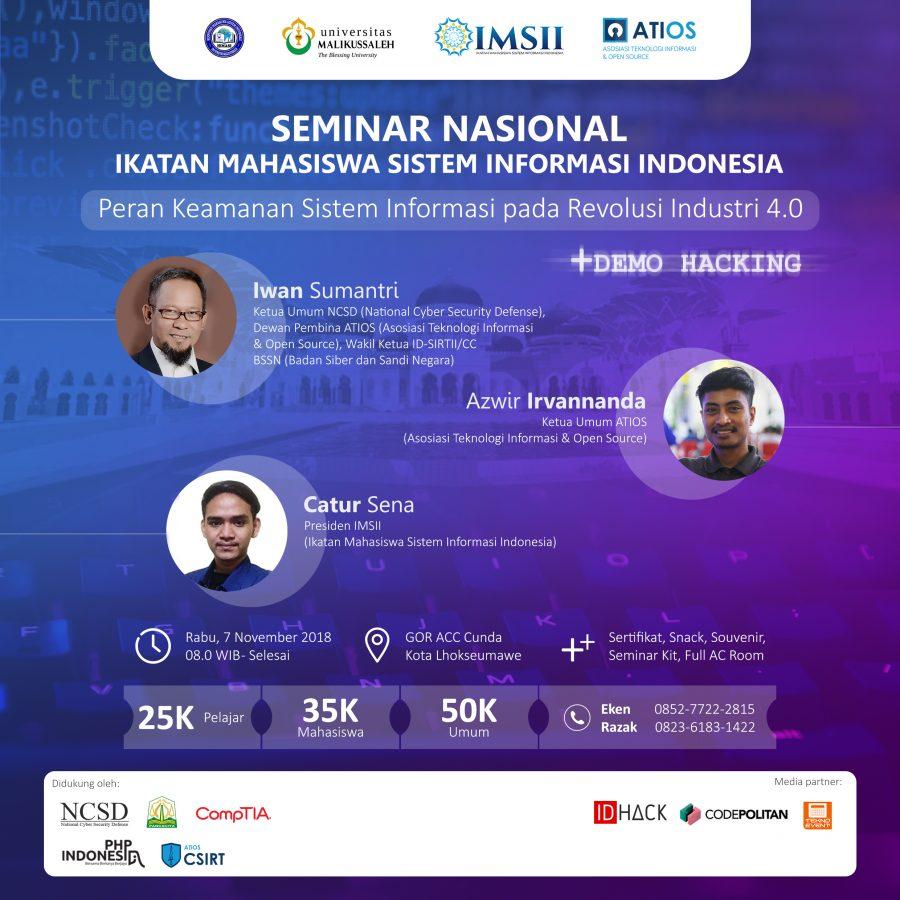 Seminar Nasional Ikatan Mahasiswa Indonesia (IMSII) dan Asosiasi Teknologi Informasi & Open Source (ATIOS)